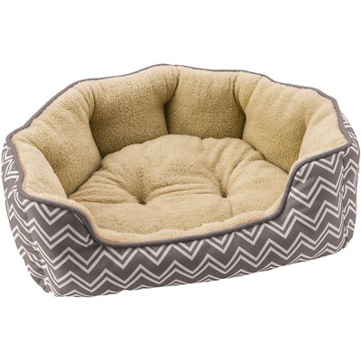 Sleep Zone Chevron Step in Scallop Bolster Dog Bed Color: Gray, Size: 23 W x 15 D x 7 H