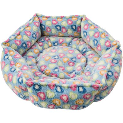 Sleep Zone Hexagon Cuddlier Hearts Bolster Dog Bed Color: Blue/Hearts