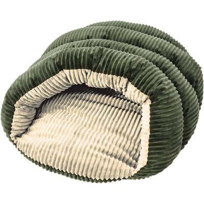 Sleep Zone Cuddle Cave Corduroy Hooded Dog Bed Color: Green/Cream