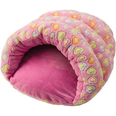Sleep Zone Cuddle Cave Hearts Hooded Dog Bed Color: Pink