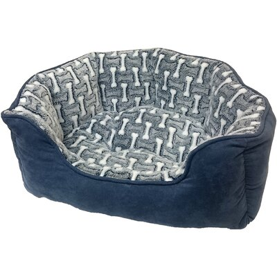 Sleep Zone Cuddle Cave Corduroy Bolster Dog Bed Color: Gunmetal, Size: 23 W x 15 D x 6 H