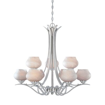 Rigoberto 9-Light Candle-Style Chandelier Finish: Platinum, Size: 150 H x 32 W x 32 D