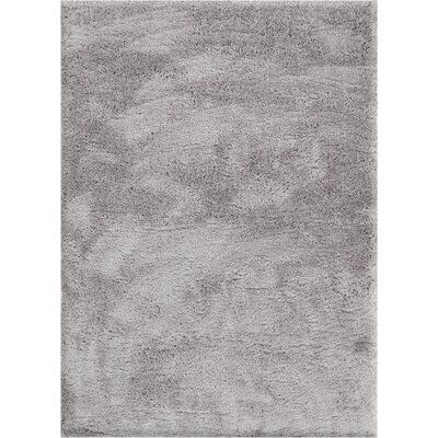Cervantez Modern Solid Thick Power Loom Silver Area Rug Rug Size: 93 x 126