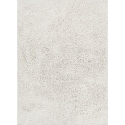 Cervantez Modern Solid Soft Power Loom White Area Rug Rug Size: 93 x 126