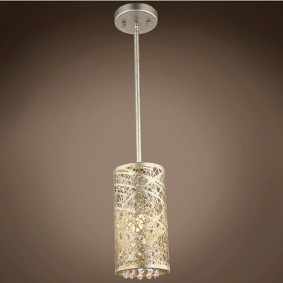 Hodder 1-Light Mini Pendant Shade Color: Golden Silver, Bulb Type: Incandescent, Crystal: European