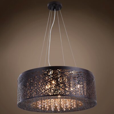 Hodder 9-Light Drum Pendant Shade Color: Smoke, Bulb Type: Incandescent, Crystal: Swarovski