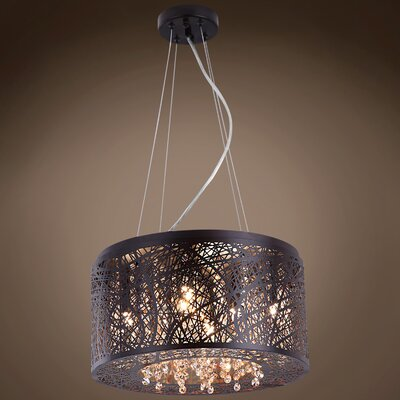 Hodder 7-Light Drum Pendant Shade Color: Smoke, Bulb Type: Incandescent, Crystal: Swarovski