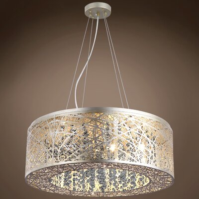 Hodder 9-Light Drum Pendant Shade Color: Golden Teak, Bulb Type: LED, Crystal: Swarovski