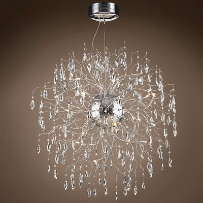 Silvestre 18-Light Crystal Pendant Bulb Type: LED, Crystal: European