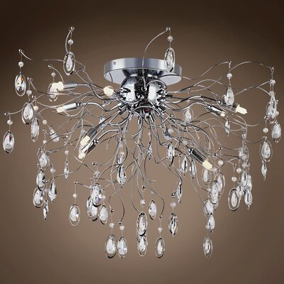 Silvestre 9-Light Flush Mount Bulb Type: Incandescent, Crystal: Asfour