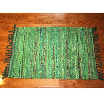 One-of-a-Kind Linmore Over-Dyed Hand-Woven Green Area Rug Rug Size: Rectangle 2 x 3