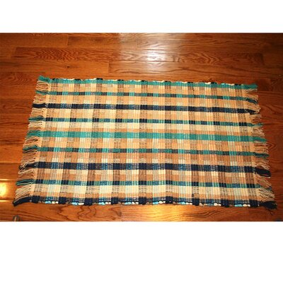 One-of-a-Kind Linmore Ticking Check Hand-Woven Navy Area Rug Rug Size: Rectangle 3 x 5