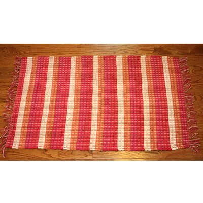 One-of-a-Kind Linmore Nubby Stripe Hand-Woven Red Area Rug Rug Size: Rectangle 2 x 3