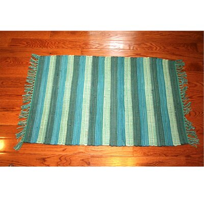 One-of-a-Kind Linmore Nubby Stripe Hand-Woven Teal Area Rug Rug Size: Rectangle 3 x 5