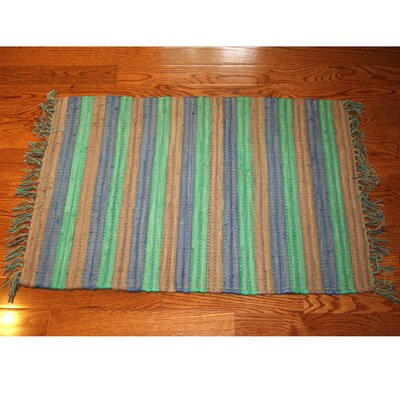 One-of-a-Kind Linmore Nubby Stripe Hand-Woven Green Area Rug Rug Size: Rectangle 2 x 3