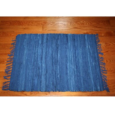 One-of-a-Kind Linmore Solid Hand-Woven Navy Area Rug Rug Size: Rectangle 2 x 3