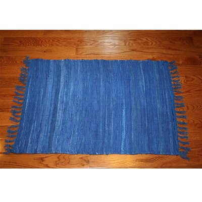 One-of-a-Kind Linmore Solid Hand-Woven Blue Area Rug Rug Size: Rectangle 2 x 3