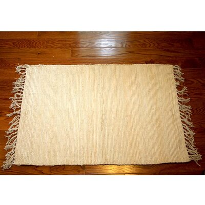 One-of-a-Kind Linmore Solid Hand-Woven Cream Area Rug Rug Size: Rectangle 4 x 6