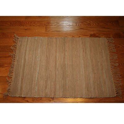 One-of-a-Kind Linmore Solid Hand-Woven Tan Area Rug Rug Size: Rectangle 4 x 6