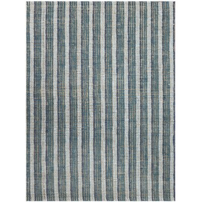 Koleby Striped Hand-Woven Teal Area Rug Rug Size: Rectangle 2 x 3