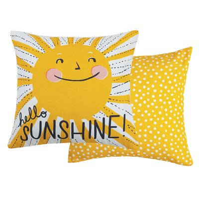 Hello Sunshine Cotton Throw Pillow
