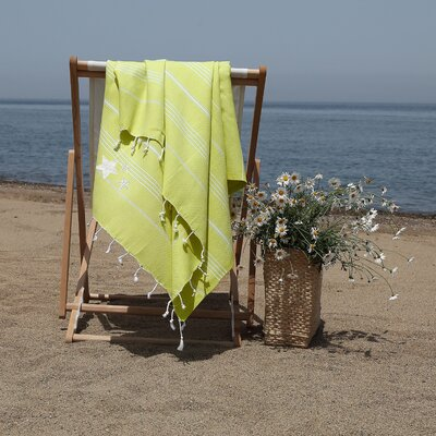 Prado Glittery Starfish Pestemal Beach Towel Color: Lime Green