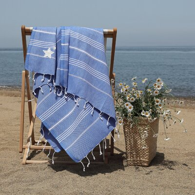 Prado Glittery Starfish Pestemal Beach Towel Color: Royal Blue