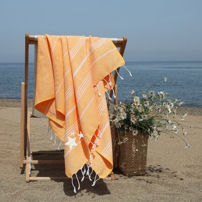 Prado Glittery Starfish Pestemal Beach Towel Color: Melon Orange