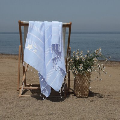 Prado Glittery Starfish Pestemal Beach Towel Color: Sky Blue