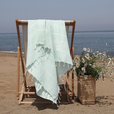 Prado Glittery Starfish Pestemal Beach Towel Color: Soft Aqua