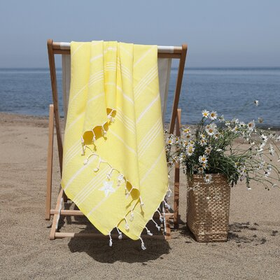 Prado Glittery Starfish Pestemal Beach Towel Color: Sunshine Yellow