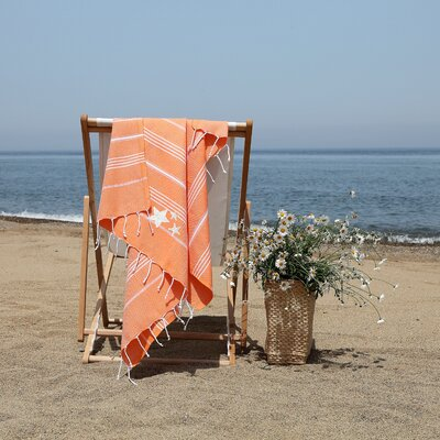 Prado Glittery Starfish Pestemal Beach Towel Color: Dark Orange