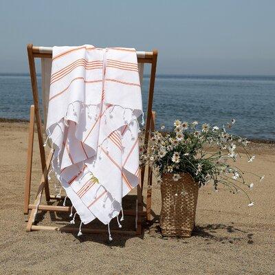 Prado Palm Tree Pestemal Beach Towel Color: White/Dark Orange
