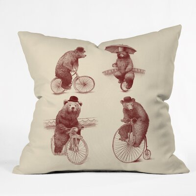 Eric Fan Bears on Bicycles Throw Pillow Size: 26 x 26