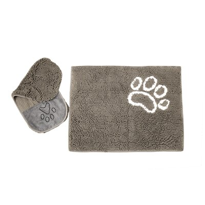 Hershman 2 Piece Pet Drying Towel and Doormat Color: Gray