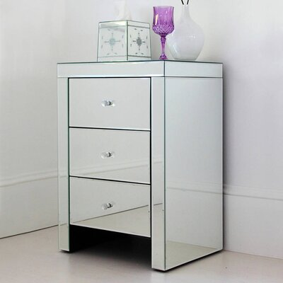 Montecello Mirror 3 Drawer Nightstand Color: White/Black/Green