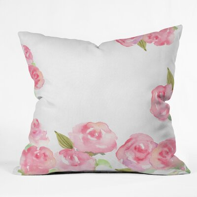 Wonder Forest Raining Roses Throw Pillow Size: 16 x 16
