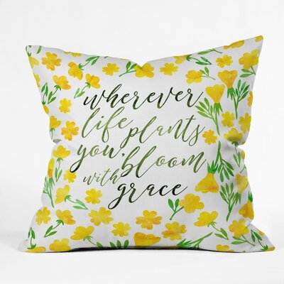 Hello Sayang Bloom with Grace Throw Pillow Size: 18 x 18