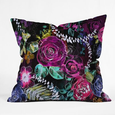 Holly Sharpe Rose Garden at Night Throw Pillow Size: 18 x 18