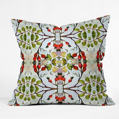 Ginette Fine Art Rose Hips and Bees Pattern Throw Pillow Size: 18 x 18