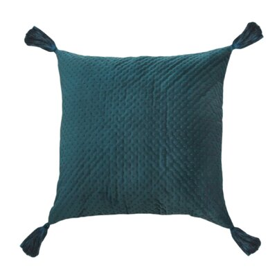 Mori Quilted Velvet Decorative Pillow Cover Color: Turquoise