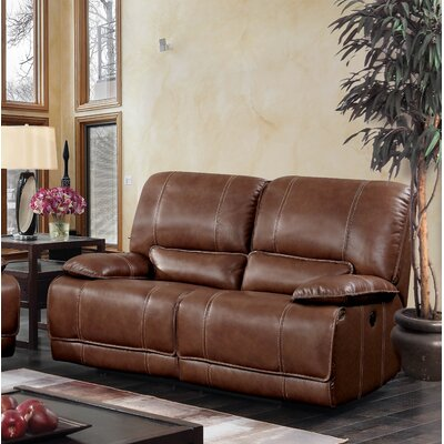 Dupree Leather Reclining Loveseat Recliner Mechanism: Manual