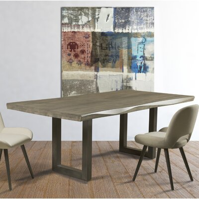 Sharlene Sculpted Edge Dining Table Base Color: Shadow, Size: 42 W x 72 L, Top Color: Gold