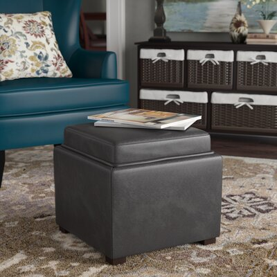 Newfield Tray Storage Ottoman Upholstery: Grey