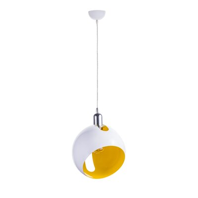 Spindler 1-Light Globe Pendant Shade Color: White/Yellow, Size: 10.2 H x 10.2 W x 10.2 D