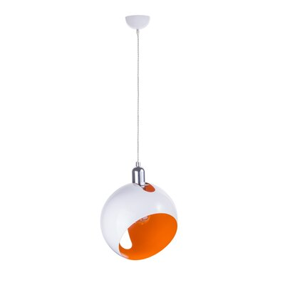 Spindler 1-Light Globe Pendant Shade Color: White/Orange, Size: 8 H x 8 W x 8 D