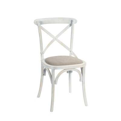 Tunley Wood Upholstered Dining Chair Frame color: White, Upholstery Color: Gray