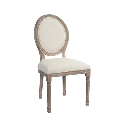 Tuohy Wood Upholstered Dining Chair Frame color: Brown, Upholstery Color: White