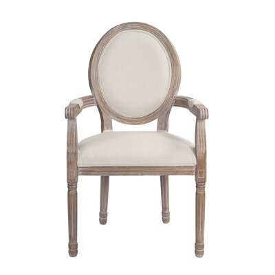 Auten Upholstered Dining Chair Frame color: Brown, Upholstery Color: White