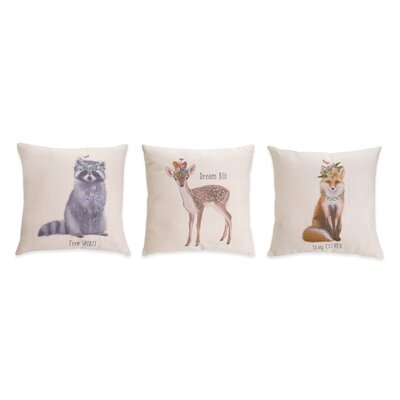 Prewitt Animal and Floral Polyester Throw Pillow